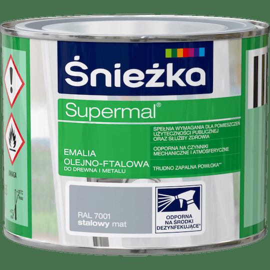 ŚNIEŻKA Supermal® Emalia Olejno-ftalowa Mat RAL7001 0,2 L