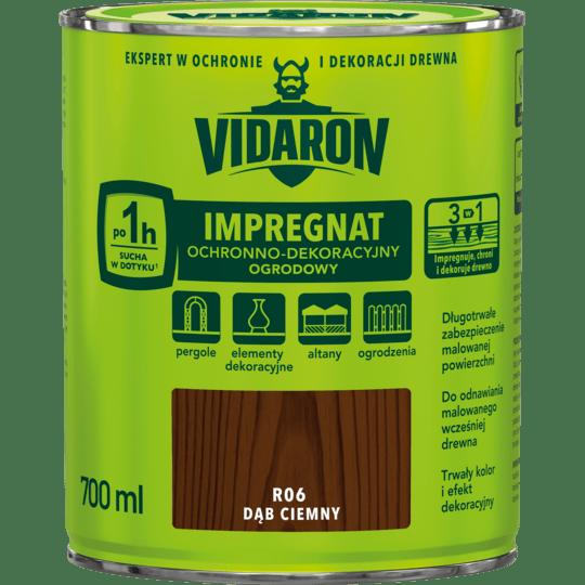 VIDARON Impregnat Ochronno-Dekoracyjny Ogrodowy ciemny dąb 0,7 L