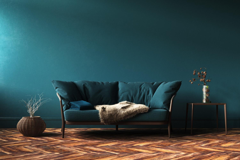 Ciemny kolor ścian do drewnianych mebli