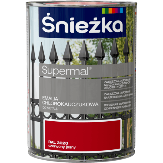 ŚNIEŻKA Supermal® Emalia Chlorokauczukowa RAL3020 0,9 L