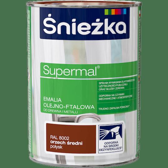 ŚNIEŻKA Supermal® Emalia Olejno-ftalowa Połysk RAL8002 0,8 L