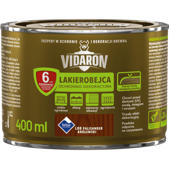 VIDARON Lakierobejca Ochronno-Dekoracyjna palisander królewski 0,4 L
