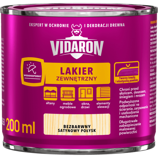 Vidaron Лак для Наружных Pабот Бесцветный сатиновый глянцевый
