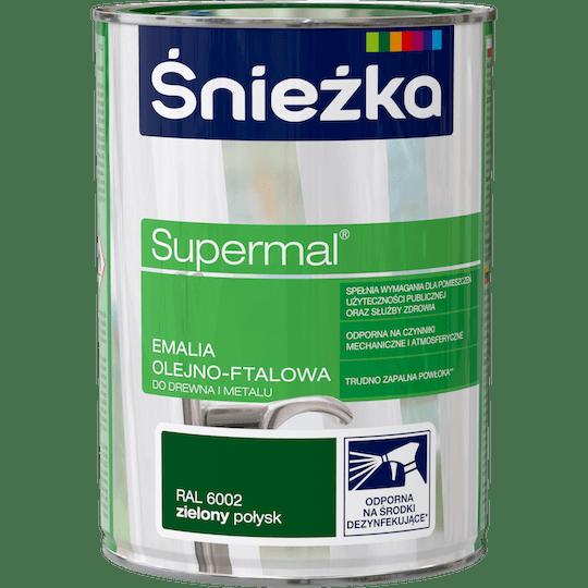 ŚNIEŻKA Supermal® Emalia Olejno-ftalowa Połysk RAL6002 0,8 L