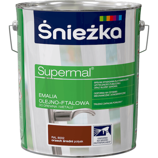 ŚNIEŻKA Supermal® Emalia Olejno-ftalowa Połysk RAL8002 10 L