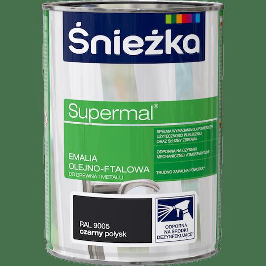 ŚNIEŻKA Supermal® Emalia Olejno-ftalowa Połysk RAL9005 0,8 L