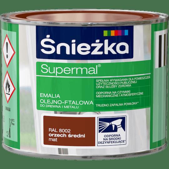 ŚNIEŻKA Supermal® Emalia Olejno-ftalowa Mat RAL8002 0,2 L