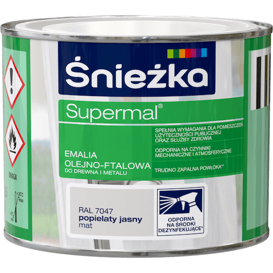 ŚNIEŻKA Supermal® Emalia Olejno-ftalowa Mat RAL7047 0,2 L
