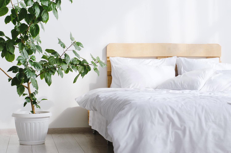 Nowoczesna biała sypialnia z drewnianymi akcentami