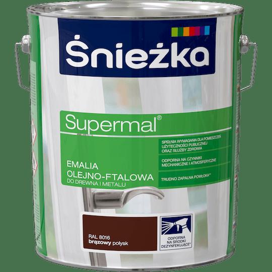 ŚNIEŻKA Supermal® Emalia Olejno-ftalowa Połysk RAL8016 10 L