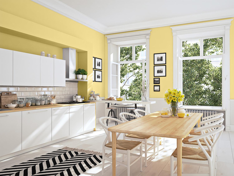 Kuchnie – inspiracje w odcieniach cytrynowych - MAGNAT Ceramic Kitchen&Bathroom B18 rześki jassonit
