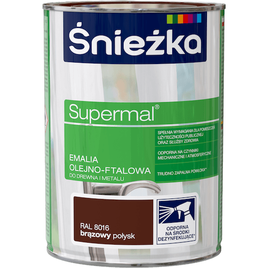 ŚNIEŻKA Supermal® Emalia Olejno-ftalowa Połysk RAL8016 0,8 L