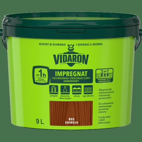 VIDARON Impregnat Ochronno-Dekoracyjny Ogrodowy sekwoja 9 L