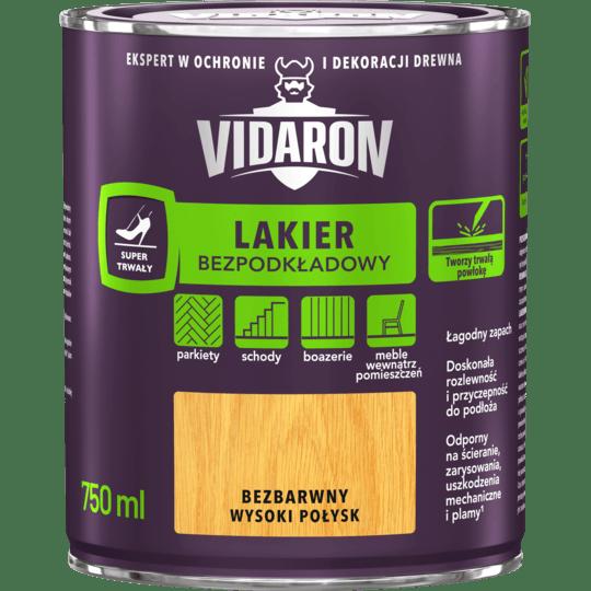 VIDARON Lakier Bezpodkładowy bezbarwny wysoki połysk 0,75 L