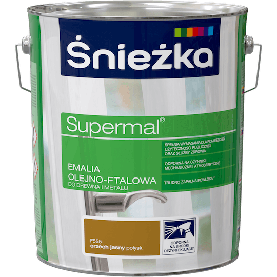 ŚNIEŻKA Supermal® Emalia Olejno-ftalowa Połysk orzech jasny 10 L