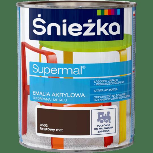 ŚNIEŻKA Supermal® Emalia Akrylowa Satynowy Mat brąz 0,8 L