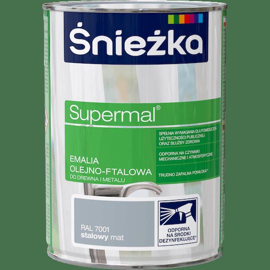 ŚNIEŻKA Supermal® Emalia Olejno-ftalowa Mat RAL7001 0,8 L