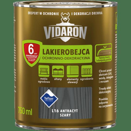 Vidaron Stain & Varnish grey anthracite 0,75 L