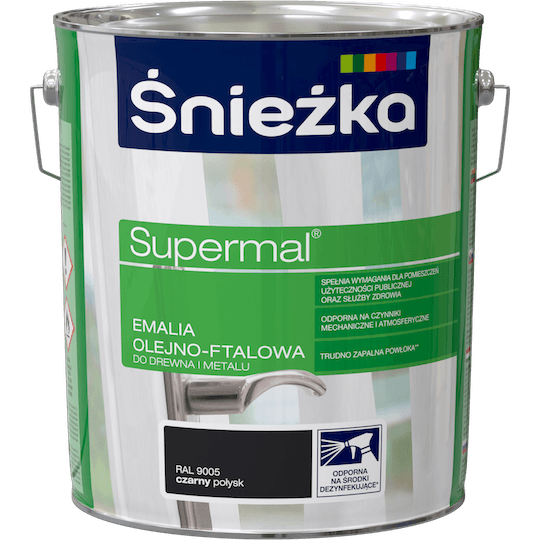 ŚNIEŻKA Supermal® Emalia Olejno-ftalowa Połysk RAL9005 10 L