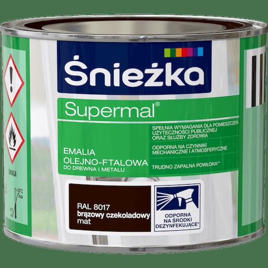 ŚNIEŻKA Supermal® Emalia Olejno-ftalowa Mat RAL8017 0,2 L