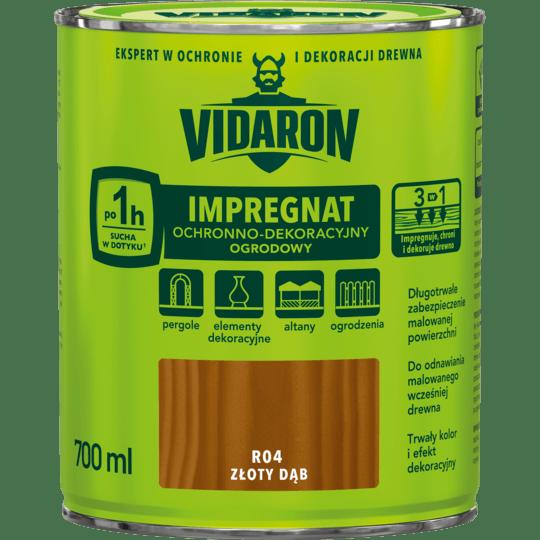 VIDARON Impregnat Ochronno-Dekoracyjny Ogrodowy złoty dąb 0,7 L