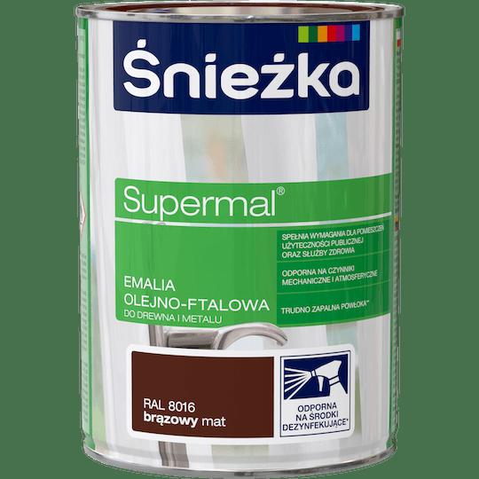 ŚNIEŻKA Supermal® Emalia Olejno-ftalowa Mat RAL8016 0,8 L