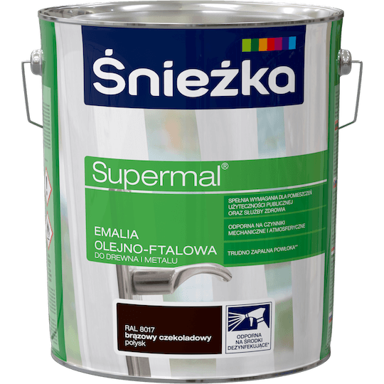 ŚNIEŻKA Supermal® Emalia Olejno-ftalowa Połysk RAL8017 10 L