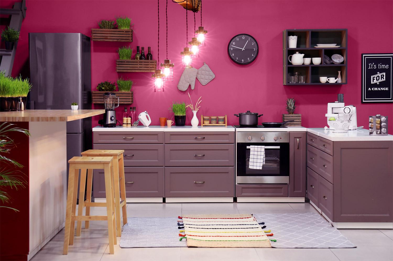 Z czym połączyć kolor lawendowy w kuchni? - MAGNAT Ceramic Kitchen&Bathroom B19 ulewny rodonit