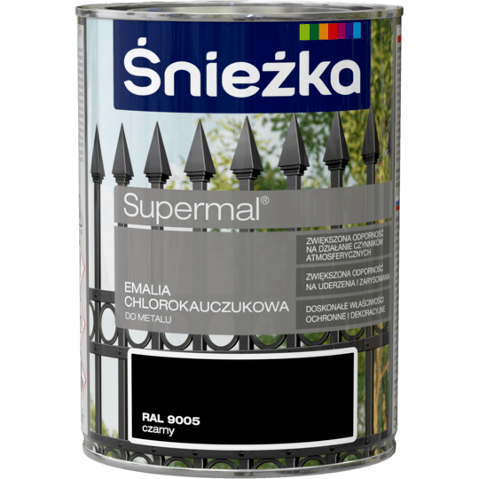 ŚNIEŻKA Supermal® Emalia Chlorokauczukowa RAL9005 0,9 L