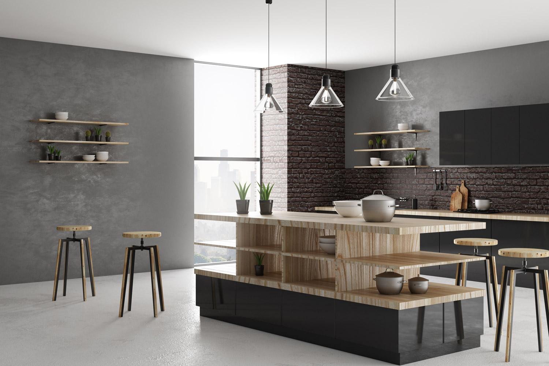 Stylowy i funkcjonalny beton, czyli pomysł na ścianę w kuchni przy stole