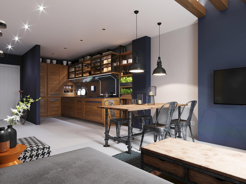 Drewno i granatowe ściany w kuchni