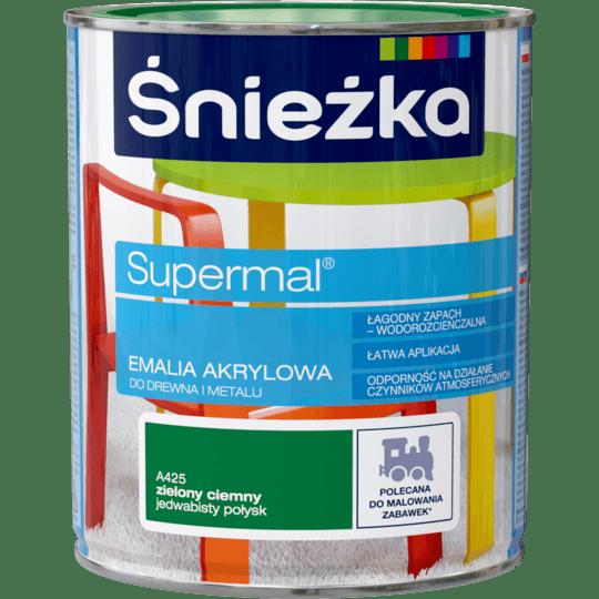 ŚNIEŻKA Supermal® Emalia Akrylowa Jedwabisty Połysk zielony ciemny 0,8 L