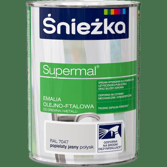 ŚNIEŻKA Supermal® Emalia Olejno-ftalowa Połysk RAL7047 0,8 L
