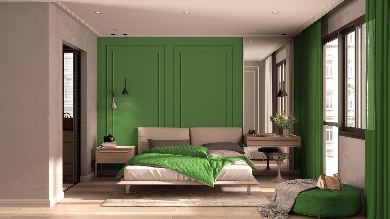 Stiuk wenecki w sypialni z zielonymi zasłonami
