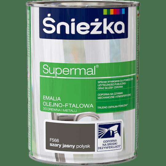 ŚNIEŻKA Supermal® Emalia Olejno-ftalowa Połysk szary jasny 0,8 L