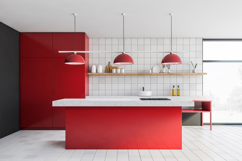 Kuchnia z czerwonymi lampami