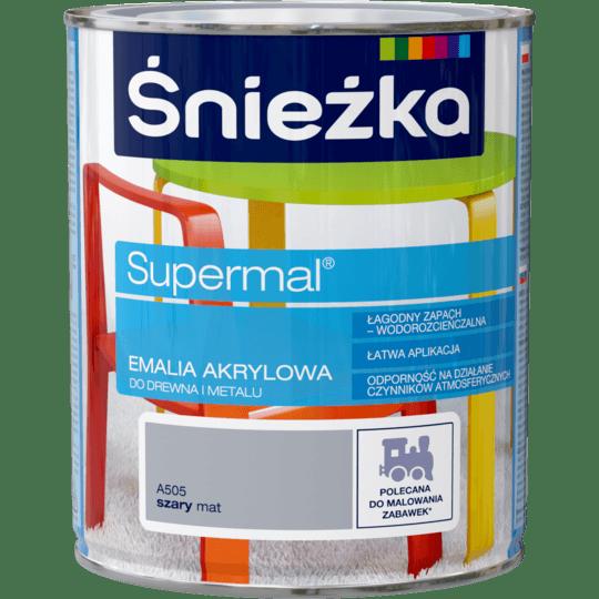 ŚNIEŻKA Supermal® Emalia Akrylowa Satynowy Mat szary 0,8 L
