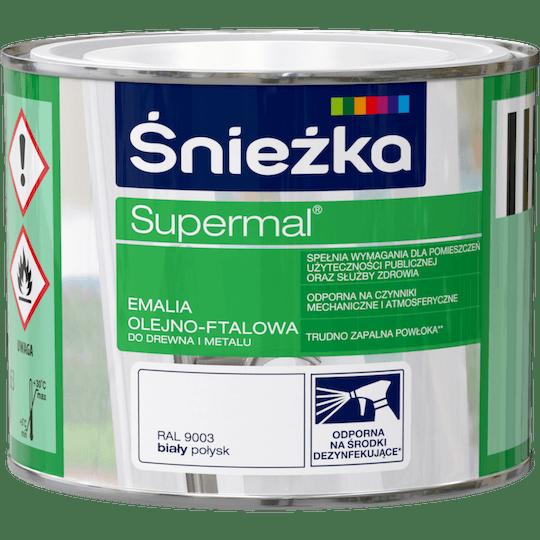 ŚNIEŻKA Supermal® Emalia Olejno-ftalowa Połysk RAL9003 0,2 L