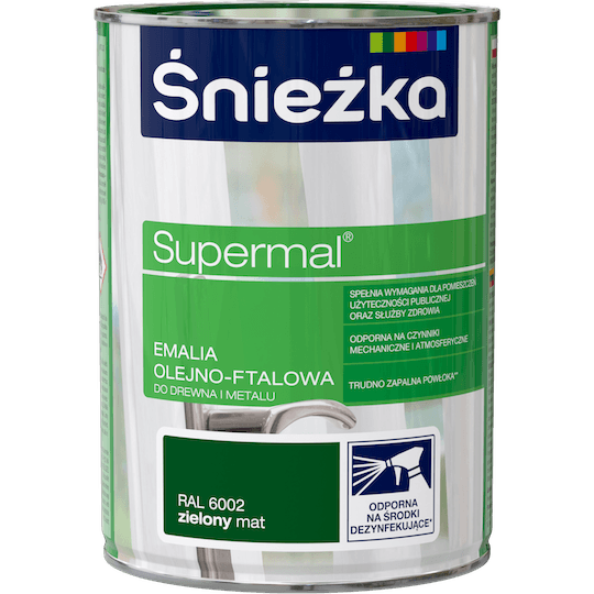 ŚNIEŻKA Supermal® Emalia Olejno-ftalowa Mat RAL6002 0,8 L