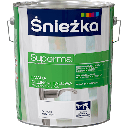 ŚNIEŻKA Supermal® Emalia Olejno-ftalowa Połysk RAL9003 10 L