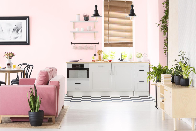 Ściana w sekcji kuchennej - MAGNAT Ceramic Kitchen&Bathroom B13 deszczowy morganit