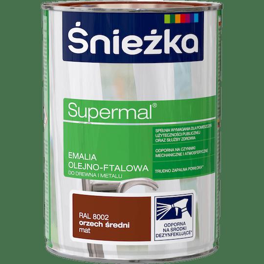 ŚNIEŻKA Supermal® Emalia Olejno-ftalowa Mat RAL8002 0,8 L