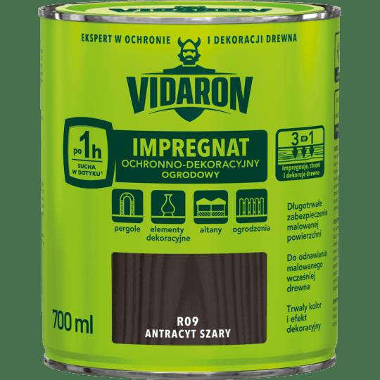 VIDARON Impregnat Ochronno-Dekoracyjny Ogrodowy antracyt szary 0,7 L