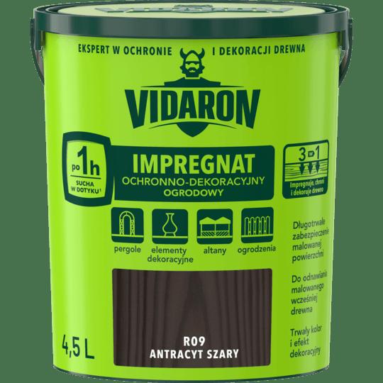 VIDARON Impregnat Ochronno-Dekoracyjny Ogrodowy antracyt szary 4,5 L